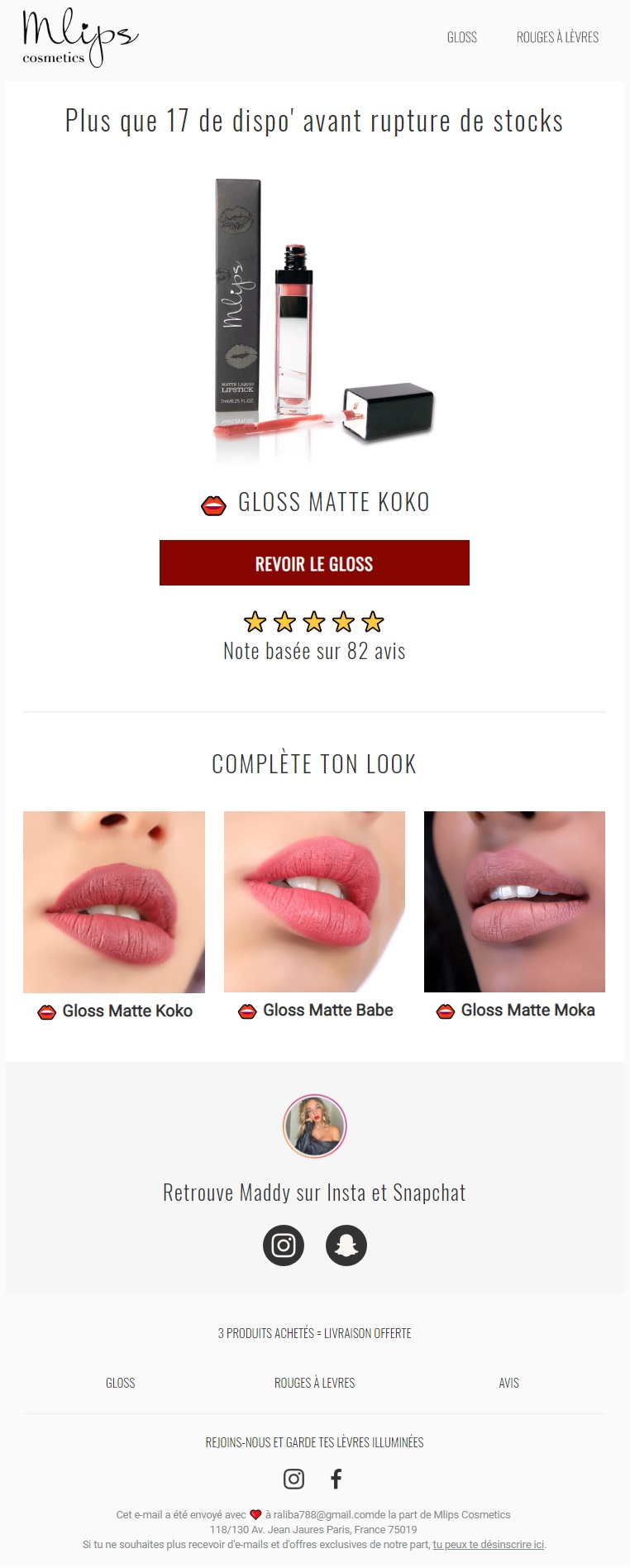Browse Abandonment email from Mlips Cosmetics