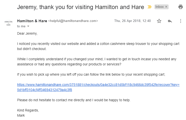 Cart abandonment email from Hamilton and Hare