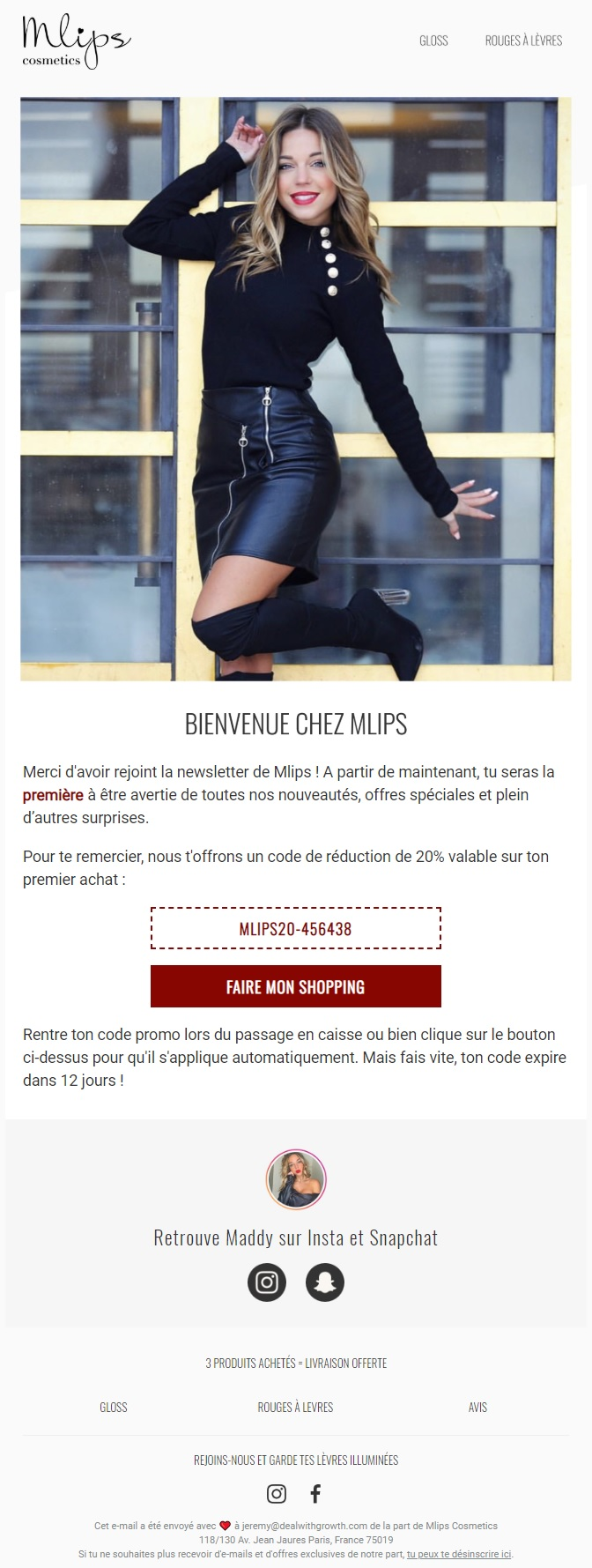 Welcome email from Mlips Cosmetics