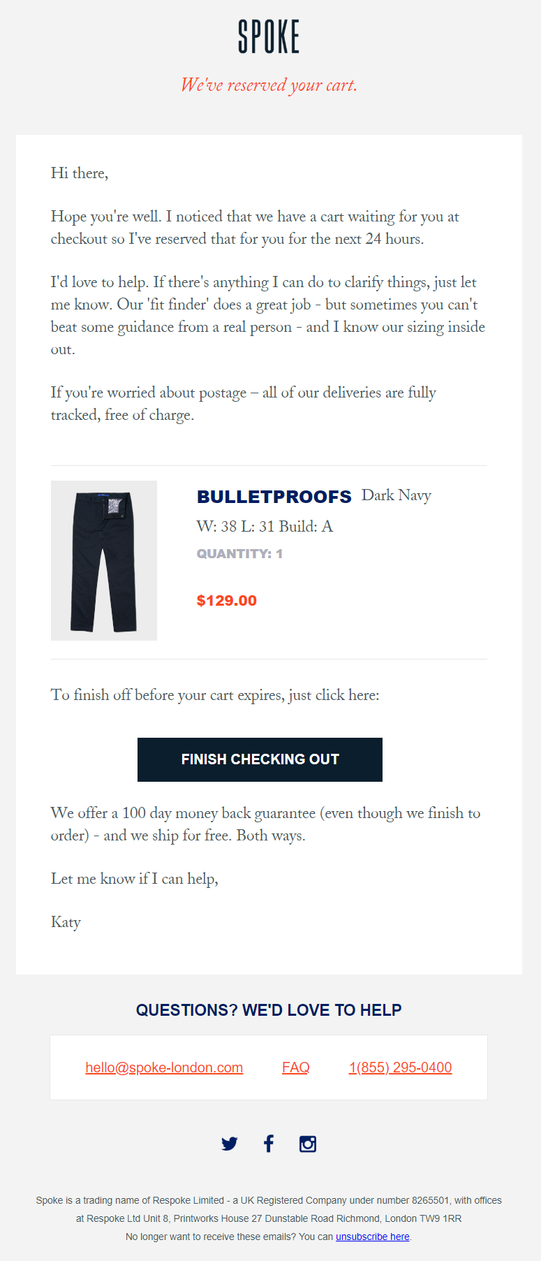 Good example of a Shopify cart abandonment email