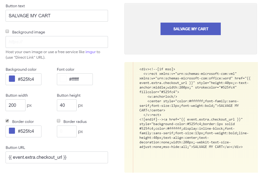Button hard-coded in HTML